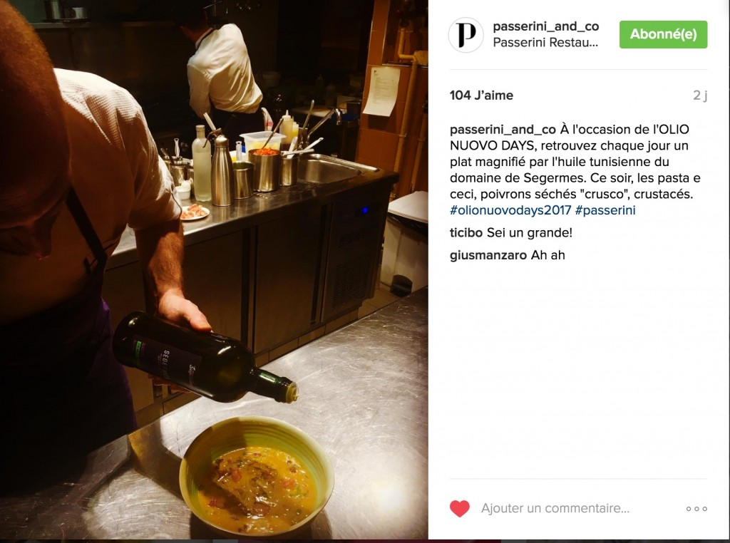 Le Chef Giovanni PASSERINI & l'huile du Domaine de SEGERMES