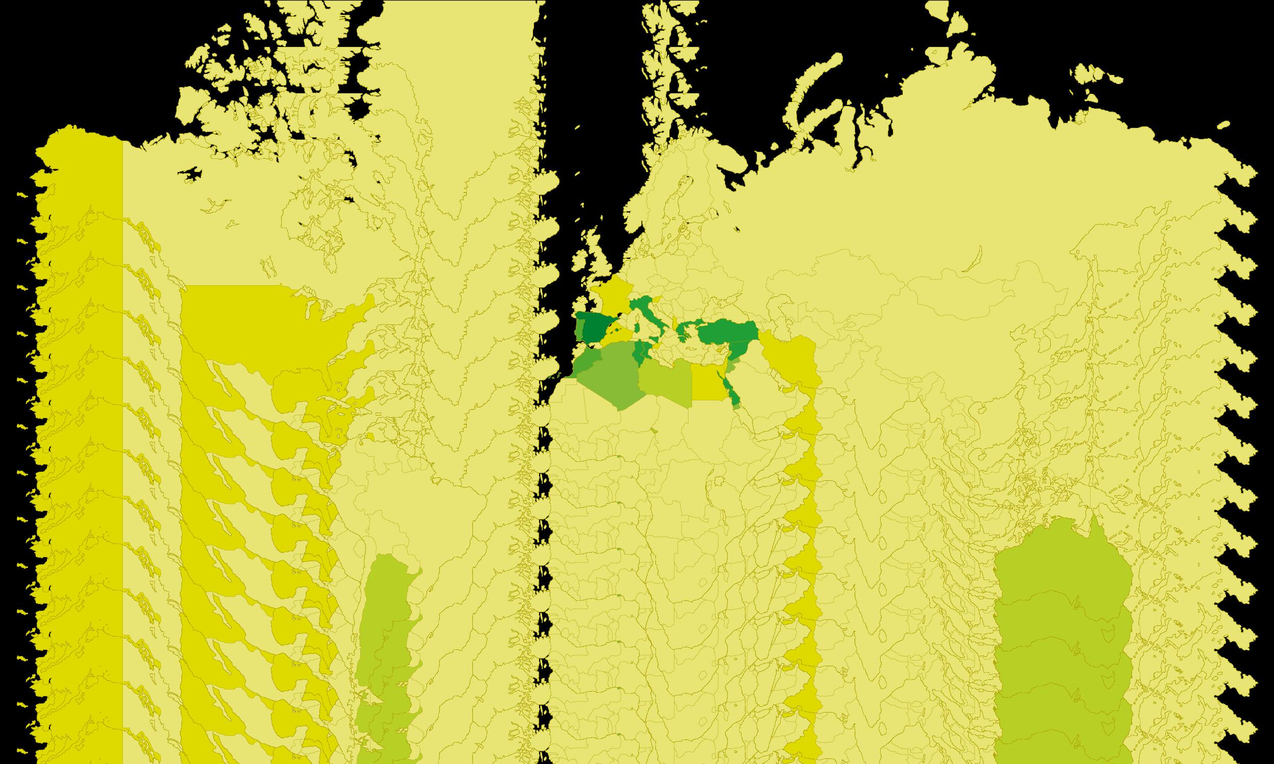 carte du monde de la production d'huile d'olive